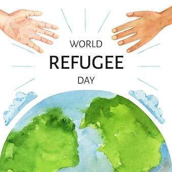 Ручная роспись акварелью всемирный день беженцев иллюстрация
