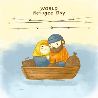 손으로 그린 수채화 세계 난민의 날 그림