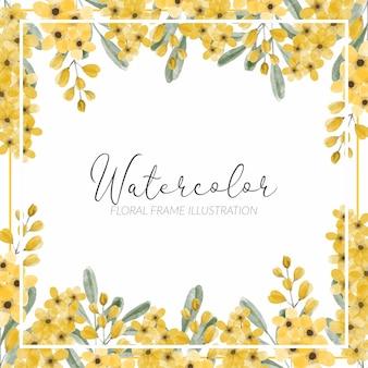 手描き水彩黄色の花の牧草地咲く正方形のフレーム