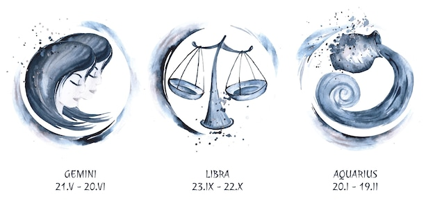 Hand painted watercolor zodiac sign collection