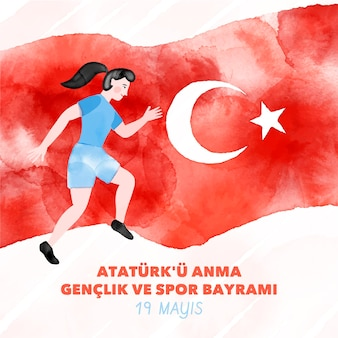 Hand painted watercolorturkish commemoration of ataturk, youth and sports day illustration