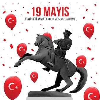 Ручная роспись акварелью, турецкое ознаменование ататюрка, иллюстрация ко дню молодежи и спорта