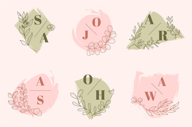 Hand painted wedding logos collection