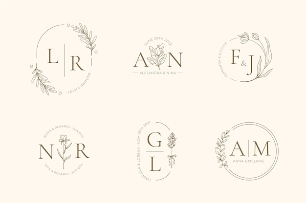 Hand painted wedding monogram collection