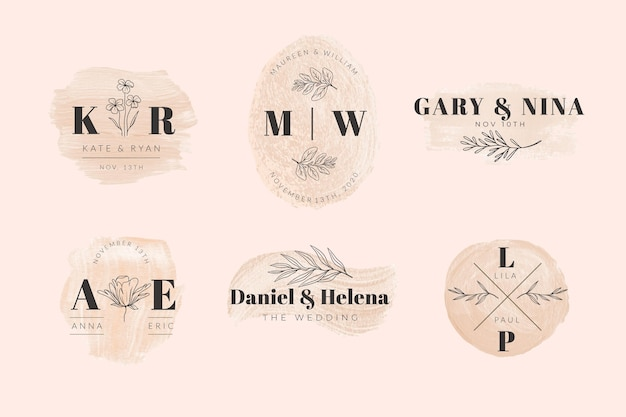 Collezione di monogrammi di matrimonio dipinti a mano