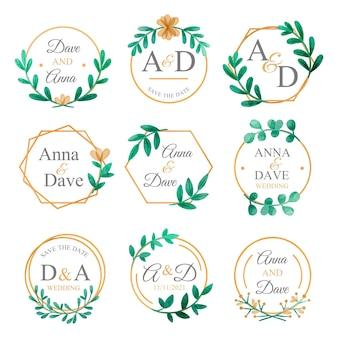 Набор свадебных монограмм с ручной росписью