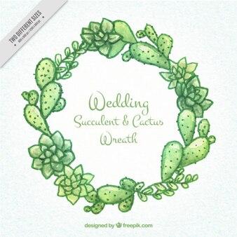 Hand painted wedding succulent & cactus wreath