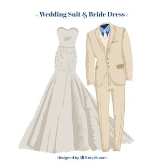 Ручная роспись свадебный костюм и платье невесты