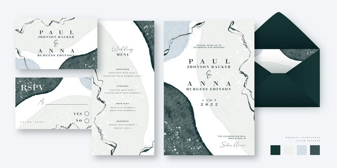 Hand painted wedding templates stationery set design