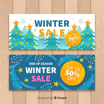 Hand painted winter sales banner