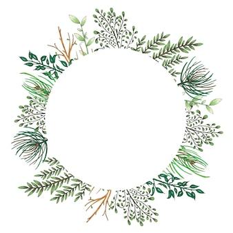 나뭇 가지, 분기 및 녹색 추상 잎 마커 꽃 프레임으로 그린 손