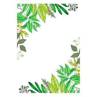 Hand painted with markers floral frame with twig, branch and green abstract leaves