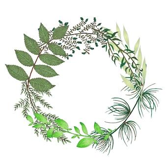 手描きの枝、枝、緑の抽象的な葉とマーカーフローラルリース
