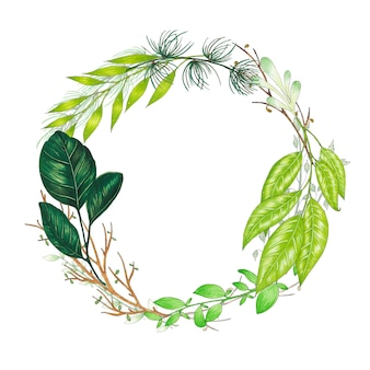 Hand painted with markers floral wreath with twig, branch and green abstract leaves