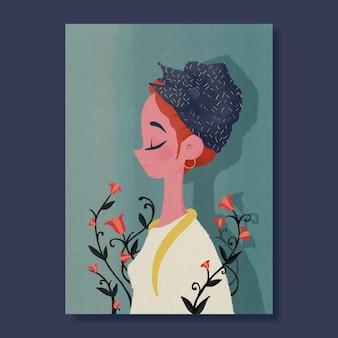 花とプロファイルの手描きの女性