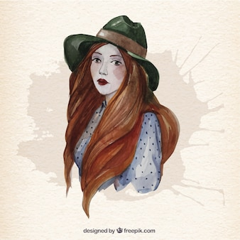 Hand painted woman with long hair Premium Vector