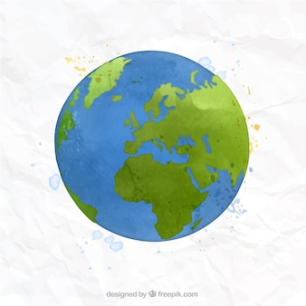 Hand painted world map