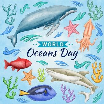 Illustrazione dipinta a mano della giornata mondiale degli oceani