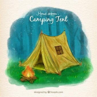 캠프 파이어 앞 손으로 그린 노란색 캠핑 텐트