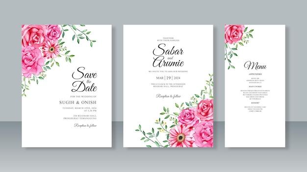 웨딩 카드 초대장 세트 템플릿에 대한 손 그림 꽃 수채화