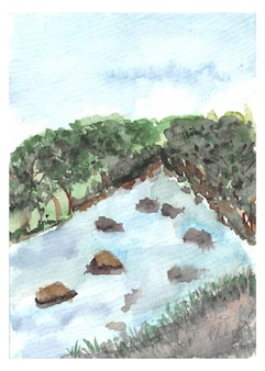 Hand painting fores and river watercolor