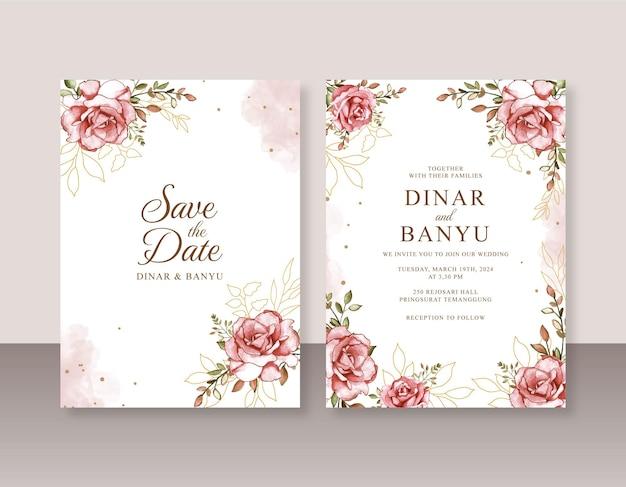 美しい結婚式の招待状のための手描きのバラの水彩画