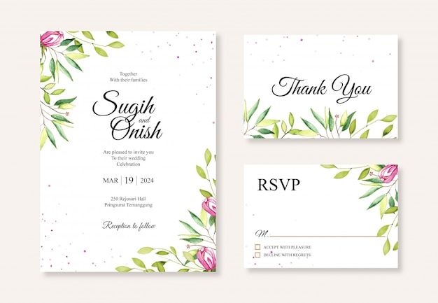 Hand painting watercolor floral for beautiful wedding invitation card template