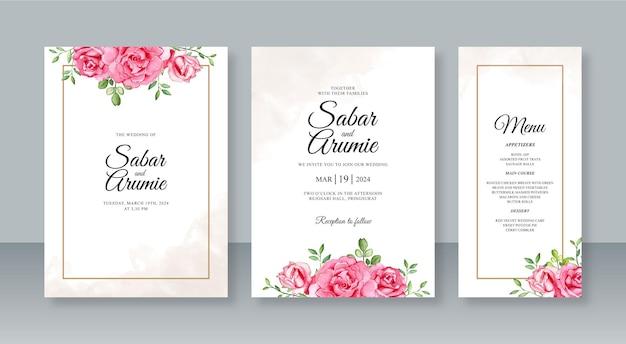 結婚式の招待状セットテンプレートの水彩花柄の手描き