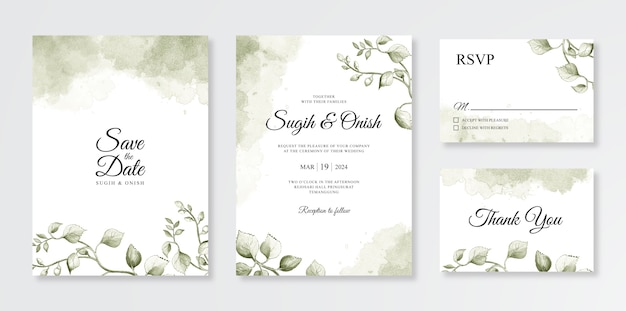 Hand painting watercolor floral and splash for wedding card invitation set template