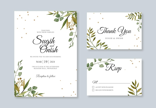 Hand painting watercolor foliage for wedding card invitation