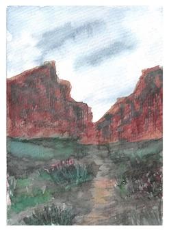 水彩画の山々と美しい野生の花を手描き
