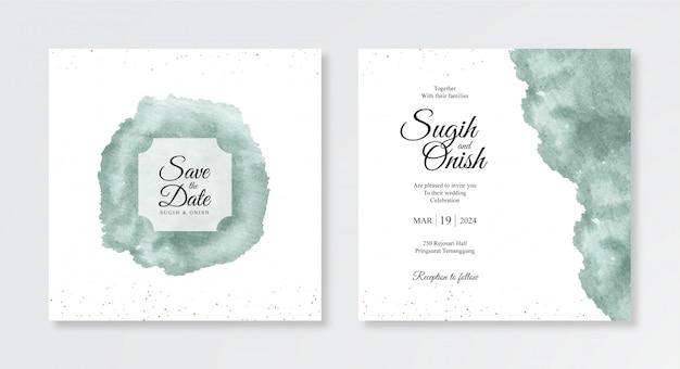 結婚式の招待状のテンプレートの手描き水彩スプラッシュ