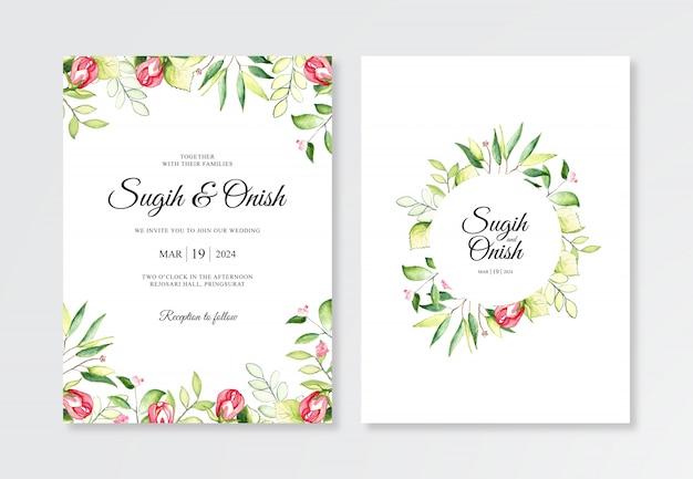 結婚式の招待状のテンプレートの水彩画の植物で手描き