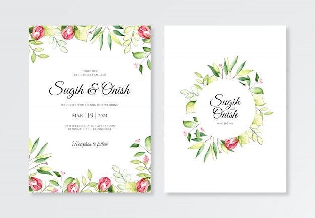 Hand painting with watercolor plants for wedding invitation templates