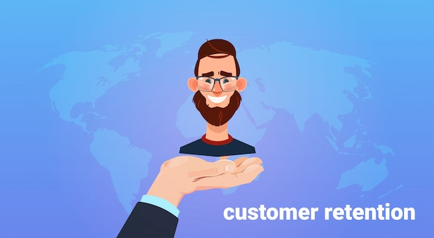 Hand palm hold man client. customer retention concept. customer care. providing save customer loyalty.  style