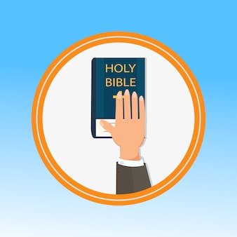 Hand, palm on holy bible