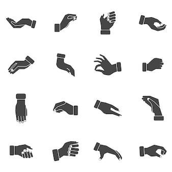 Hand palms grabbing black icons set