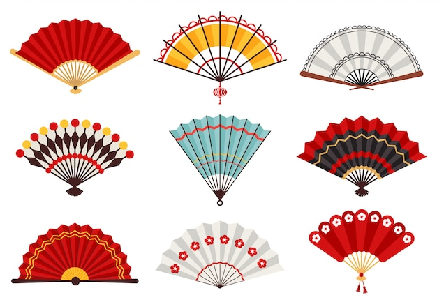 Поклонники бумажной руки. азиатский традиционный складывая веер, японский сувенир, установленные значки иллюстрации вентиляторов деревянной китайской руки традиционные. веер китайские украшения, сувенир азиатской культуры