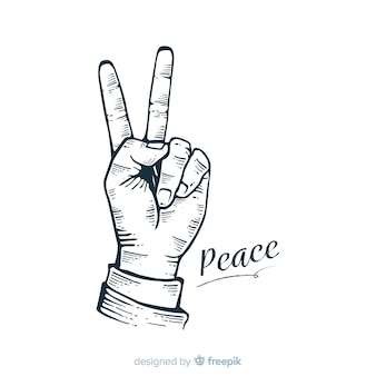 Hand peace sign background