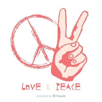 Hand peace symbol background