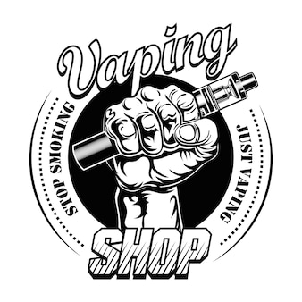 Hand pf vaper vector illustration. male hand holding electronic cigarette, stop smoking text, stamp
