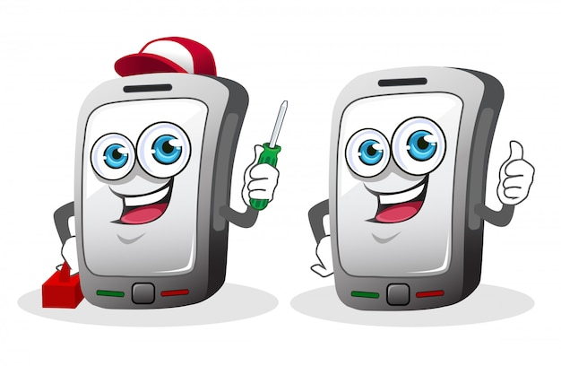 Hand phone mascot cartoon