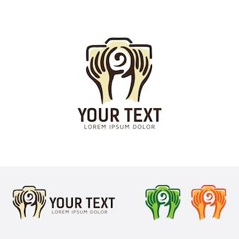 Hand photography logo template