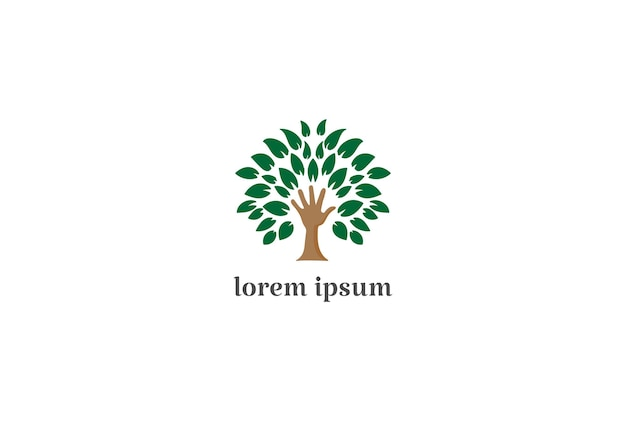 Hand plant tree for education charity foundation or environment logo design vector