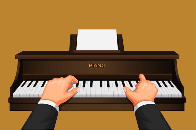 Hand playing piano, pianist musician pratice cartoon