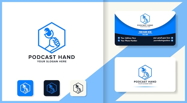 Hand podcast logo on hexagon and business card design