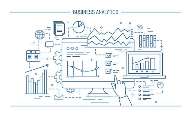 コンピュータの画面を指さしたり、さまざまな図、チャート、グラフを表示したりする手。統計データ分析とビジネス分析の概念。ラインアートスタイルのモノクロのベクトルイラスト。