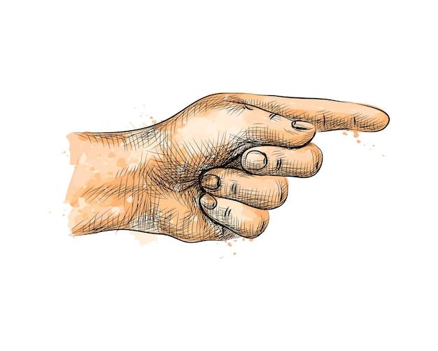 手を指して、水彩のスプラッシュから指を指して、手描きのスケッチ。塗料のイラスト