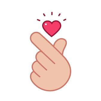Hand posing fingers mini heart shape in vector flat illustration style take care
