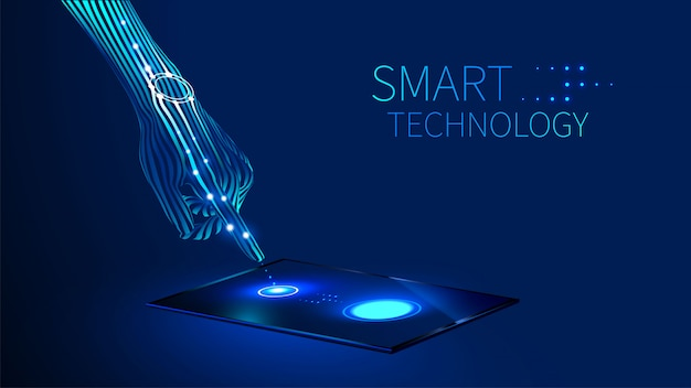 The hand presses the finger on the touch screen on the tablet or smart phone